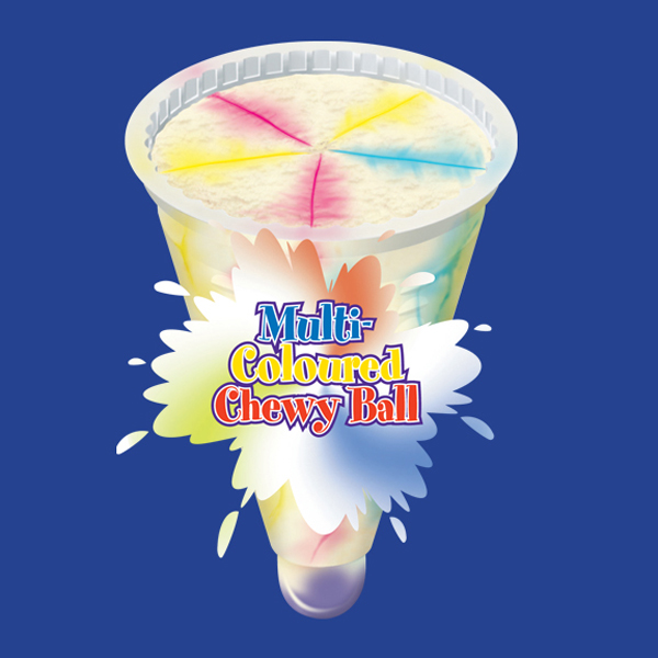 Vanilla flavoured ice cream, mixed fruit sauce and bubblegum ball. 90ml / 36 per crton